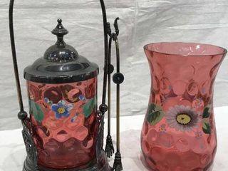 Pink Floral Vase   Pickle Jar  Matching