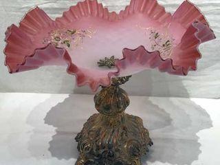 Pink Fluted Fenton Centerpiece