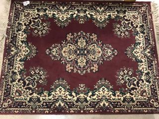 Red   Green Fringed Area Rug  65 x 47