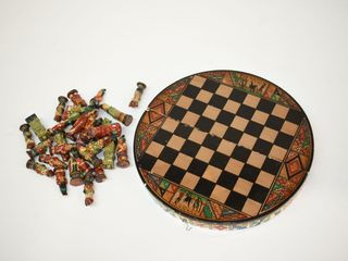 Vintage Chess Set with Ceramic Pieces