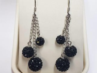 Silver Crystal Earrings  BK06 115   D2