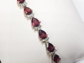 Silver Garnet(1.5ct) Bracelet (~length