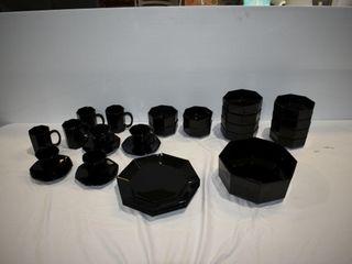 Arcoroc France Black Dishes