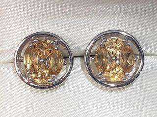 Silver Citrine 2ct  Earrings  BK06 119   D2