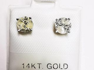 14K White Gold Diamond 0 52ct  Earrings  weight