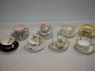 (8) Bone China Tea Cups & Saucer Sets