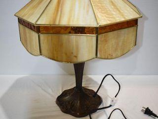 """Slag Glass Table Lamp 23"""" tall- heavy"""