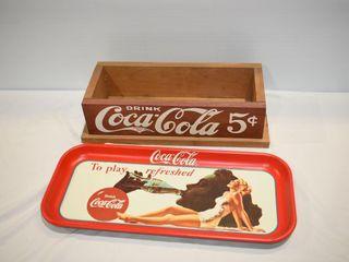 Coca Cola Tray and Wooden Box