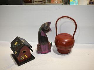 """Wood Carved Cat (14""""), Lidded Basket & Bird"""