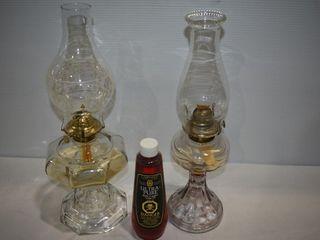 (2) Antique Oil Lamps wit Bottle of Oil