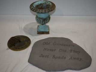 Cast Iron Urn, Sun Dial & Garden Plaque