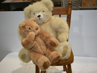 Antique Childs Chair & (2) Fully Jointed Bears