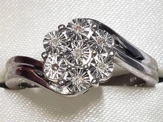 Silver Diamond Ring (~Size 7.5) (BK06-124) (D2)