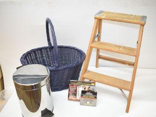 Small Step Stool  Basket  Staple Gun  Garbage Can
