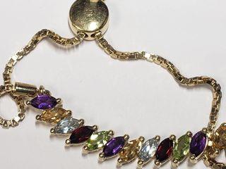 Silver Amethyst Citrine Bracelet  length