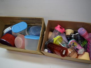 2  Boxes of Plastic Storage   Drinking Containers