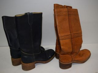 2 Pr lightly used leather boots  sz 8and 9