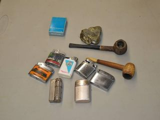 Assorted lighters and Pipes