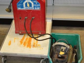 lincoln AC Welder with Helmet and Gloves