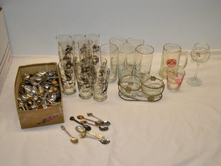 Box of Vintage Glassware and Collector Spoons
