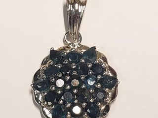 Silver Sapphire 2ct  Necklace  BK06 142   D2