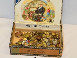 Cigar Box of Military Buttons and Badges