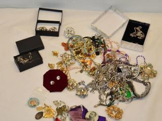 Grp  of Costume Jewelry  Royalty Pins  etc