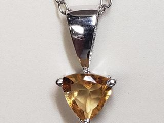 Rhodium Plated St.Silver Citrine Necklace