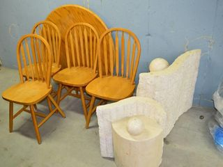 Grp  of  4  Wooden Chairs  Table Top  no base