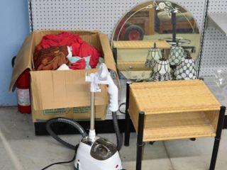 Grp  of Garment Steamer  lamps  Mirror  Shelf