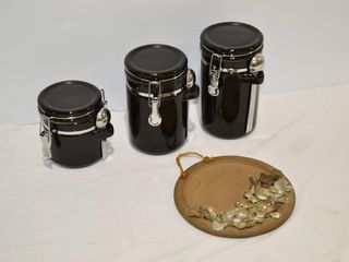 3pc  Black Canister Set and Pottery Wall Hanging