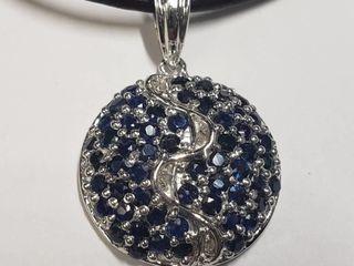 Silver Sapphire Necklace  BK06 150   D2