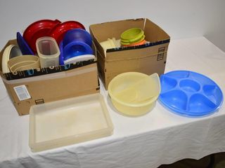 2  Boxes of Tupperware and Plastic Storage