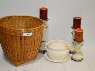 Wicker Basket  Soup Tureen  Candles  etc