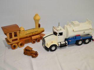 3  Wooden Vehicles   Truck  trains