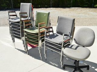 13  Staking Chairs and Office Chair