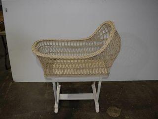 Vintage Wicker Bassinet on Wooden Stand