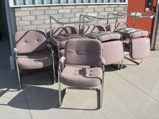 8  Chrome   Upholstered Chairs