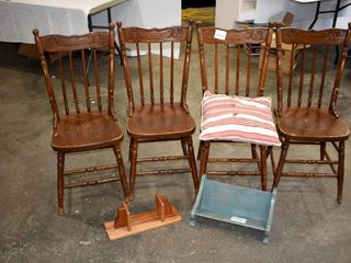 4  Spindled Wooden Chairs  Pillow  etc