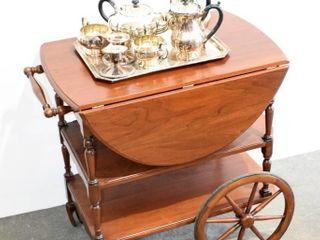 Silverplate Tea Coffee Service and Tea Wagon