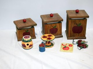Box of Wooden Canister Set  etc