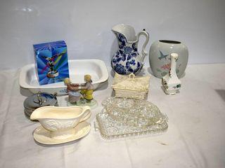 Box of Casserole  Pitcher  Figurines  etc