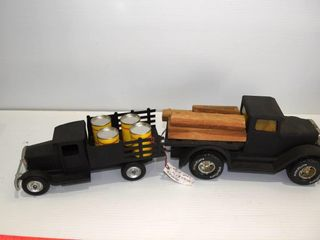 2 Toy trucks and contents