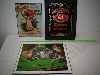 Jack Daniels Sign, Tin Signe and Dog Print