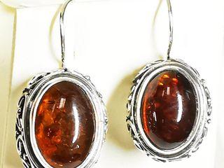 Silver Amber Earrings  weight 9g   BK06 108