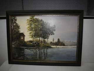 """Walter Campbell Picture 44"""" x32"""" outside frame"""