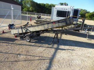 14' fiberglass boat w/ trailer & Backwater mud mot