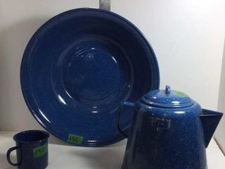 BAKED ENAMEL COFFEE POT, MUG & BASIN