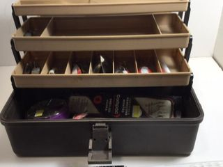 TACKLE BOX C/W LURES, HOOKS, BOBBERS