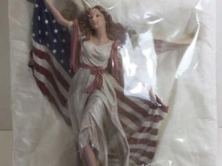 "AMERICAN FLAG ANGEL FIGURINE APPROX 12"" TALL"